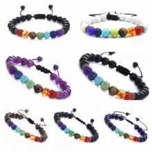 Men's and women's 8mm lava 7 Chakra essential oil diffuser Bracelet braided rope natural stone Yoga bead bracelet bracelet