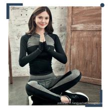 Femmes contraste couleur polyester mélange Spandex Hoodies et pantalons de yoga