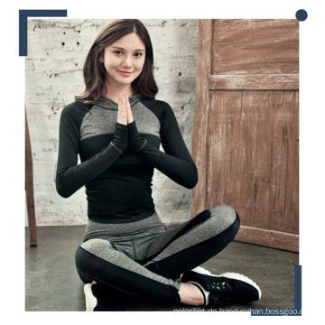 Frauen Kontrast Farbe Polyester Mischung Spandex Hoodies und Yoga Hosen