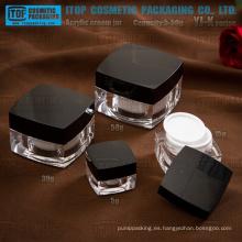 La serie de YJ-K 5g 15g 30g 50g clásica y decorativa alta claro cuadrado tarro de acrílico