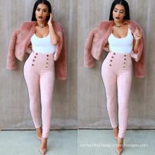 England brand model wear velvet women fashion causal botton pant leggings