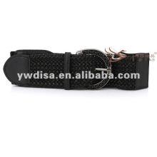 Popular de alta qualidade preto elástico PU cinto de couro