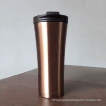 Double layer stainless steel car coffee cup with lid