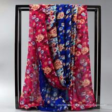 Comfortable Pretty women wholesale chiffion satin silk shawl or scarves custom printed silk foullard hijab mousseline