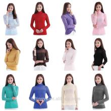 women fashion blouse plain net lace t shirt Islamic muslim clothes