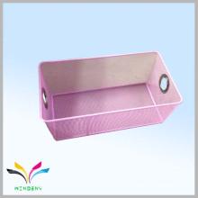 Fashion design triangular metal mesh wire pink storage rack basket