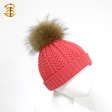 100% Merino Real piel Pom Pom que hace punto sombrero de lana de la gorrita tejida para el bebé