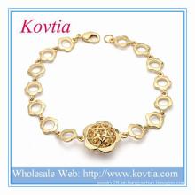 Ouro indiano kada desenhos flor pulseira link cadeia banhado a ouro pulseira jóias de liga