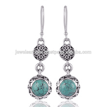 Tibetan Turquoise Gemstone 925 Sterling Silver Earring