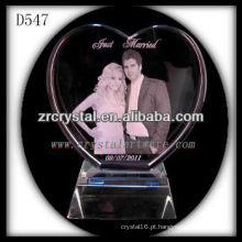 Forma de coração de cristal de casamento