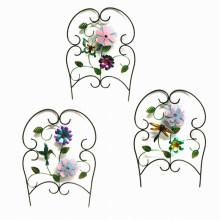 Garden Decoration Cloth Flower Decorated Round Metal Fence Craft