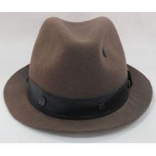 Шерстяная войлочная шляпа Fedora с кожаной обёрткой (F-070008)
