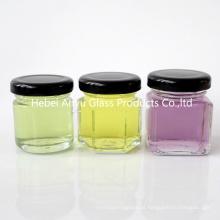 1 oz 2 onças rodada Hexagon quadrado mini vidro Honey Jar Mason Shot com tampa preta