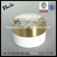 50g white acrylic cream jar with fancy diamond cap and inner lid, acryl cream jar for face care, high quality cheap OEM