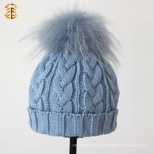 Sombrero personalizado de ganchillo de invierno Sombreros de punto hechos punto sombreros bebé con la bola de piel