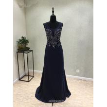 Темно-Синий Атласная Бисероплетение Русалка Вечернее Платье