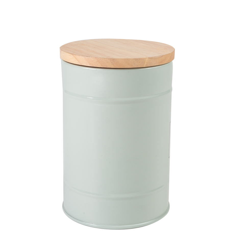 Metal Storage Bin With Bamboo Lid