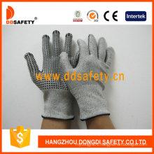 13G Hppe Glass Fiber Gloves with Spandex Nylon Mixed Black PVC Dots Dcr212