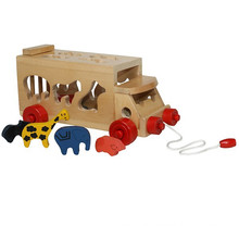 wooden pull animal bus for child