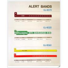 cinta de identificación desechable para el hospital, bandas de alerta, bandas de identificación