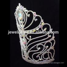 Corona de cristal de la flor de la manera grande, coronas modificadas para requisitos particulares tiara grande de la boda, coronas y tiaras al por mayor del desfile