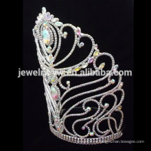Модные хрустальные цветочные короны больших конкурсов, индивидуальные короны, большая свадебная тиара, оптовые коронки и тиары