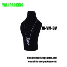 Exhibición del collar de la joyería plástica cubierta de la multitud negra al por mayor (JN-VM-BV)