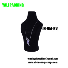 Черный флок покрыт пластиковый Дисплей ювелирных изделий Оптовая ожерелье (ин-ВМ-ЗБ)