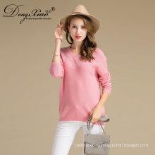 Бесплатный образец корейский Стиль женщин розовый Color100% Кашмир WithTop свитер Продажа 2017