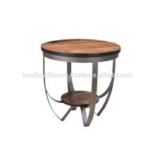 Mesita redonda de metal y madera industrial
