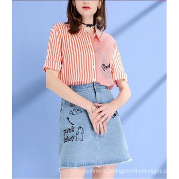 Summer Stripe Round Neck Short Sleeve Fresh Ladies Shirts