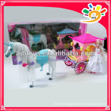 """Plastic beautiful horse carriage B/O horse carriage with 9"""" doll"""
