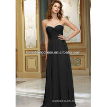 HB2105 Shiy beaded around neckline sweetheart neck strapless black gathered top long chiffon strapless sweetheart prom dresses