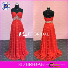 ED Bridal Popular Rouge Mousseline A Line Sweetheart Décolleté Fermeture à glissière Long Robe de bal avec sangle perlée