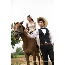 Lace Mermaid V Neck China Wedding Dress (TJBLCT008)