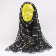 Wholesale Fashion Ladies Spring Muslim Scarf Checkered Embroidered Silk Autumn Hijab Scarves