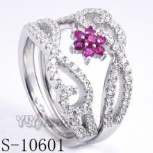925 plata esterlina rosa zirconia mujeres anillo (s-10601)