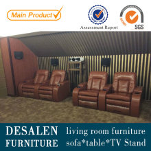 Sofá reclinable de cuero marrón alta calidad Home Theater (G038)