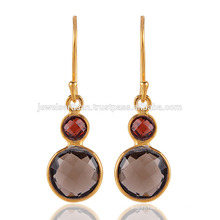 Beautiful Smoky Quartz & Garnet with Gold Plated Silver Earring