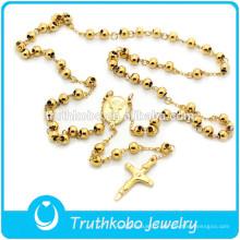 TKB-N0002 Religieux Croix Homard Fermoir Chapelet Perle et Croix Pendentif Bijoux De Haute Qualité En Acier Inoxydable Collier