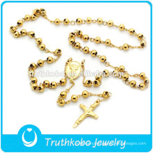 TKB-N0002 Religious Cross Lobster Clasp Rosary Bead&Cross Pendant Jewelry High Quality Stainless Steel Necklace