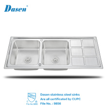 High Quality Countertops Used Stainless Steel Hand Wash Kitchen Sinks Basins With Drain Board For Sale