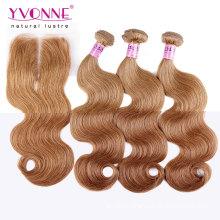Color #8 Brazilian Hair Bundles with Lace Closure