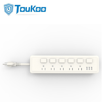Interruptores de potencia individuales American Power Strip con USB