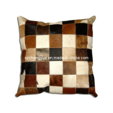 Two Sides Natural Cowhide Patch Pillow Cover Without Fillings
