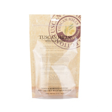 Reusable Snack Nuts Grain Powder Spices Health Food Pouch Stand up Zip Lock Kraft Paper Bags with Window