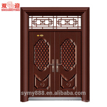 Porte d'entrée en acier inoxydable design double porte porte affleurante