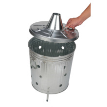 Pre-Galvanized Trash Can With Lid Round75L
