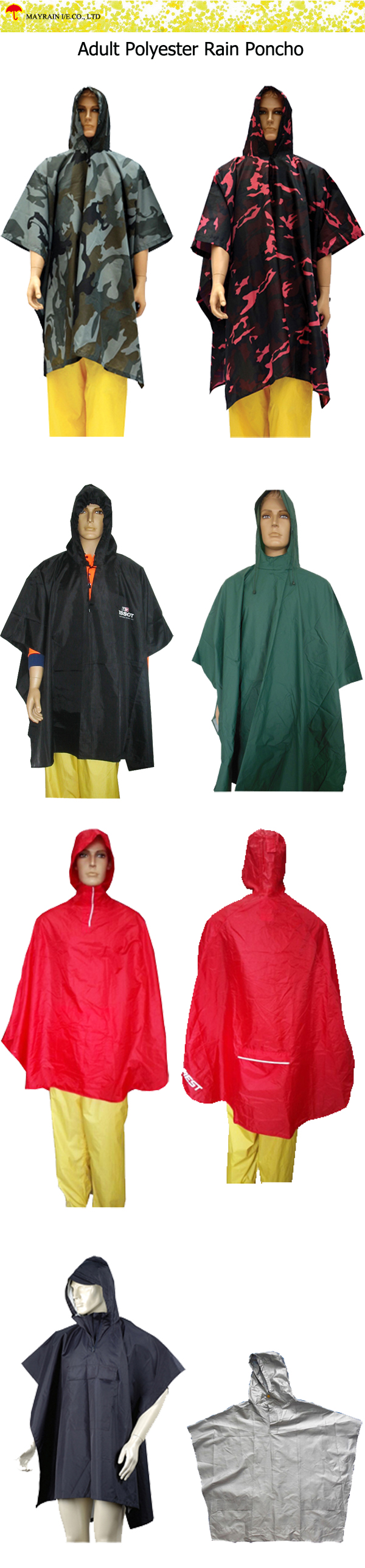 Adult Polyester Rain Poncho