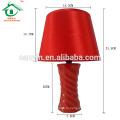 Настольный светильник из красного керамического фарфорового стола с тканевым оттенком